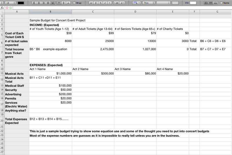how to create a budget on excel sample